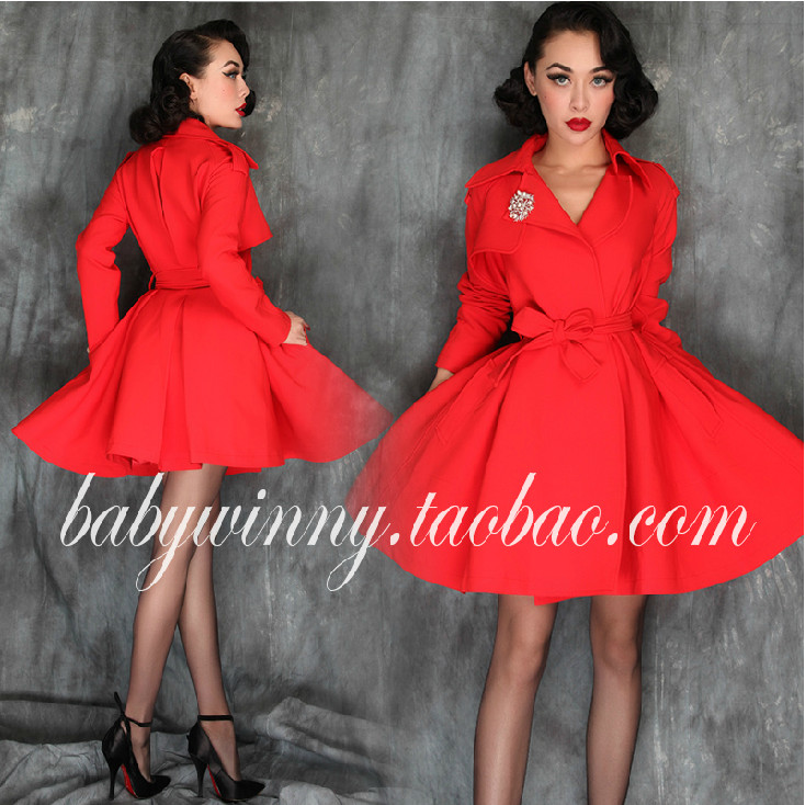 Le Palais Vintage Red   Trench   Coat for Women Collect Waist Moda Feminina Coat Like Big Swing Dress Bow Tie Sashes