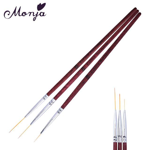3 Size Nail Art Red Wood Line Slim Painting Brushes Set Gel Polish Tips 3d Flower