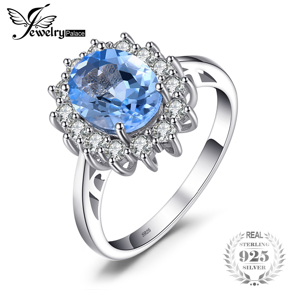 JewelryPalace Princess Diana William Kate 2.3ct Azul natural Topaz compromiso Halo anillo 925 plata esterlina joyería fina moda
