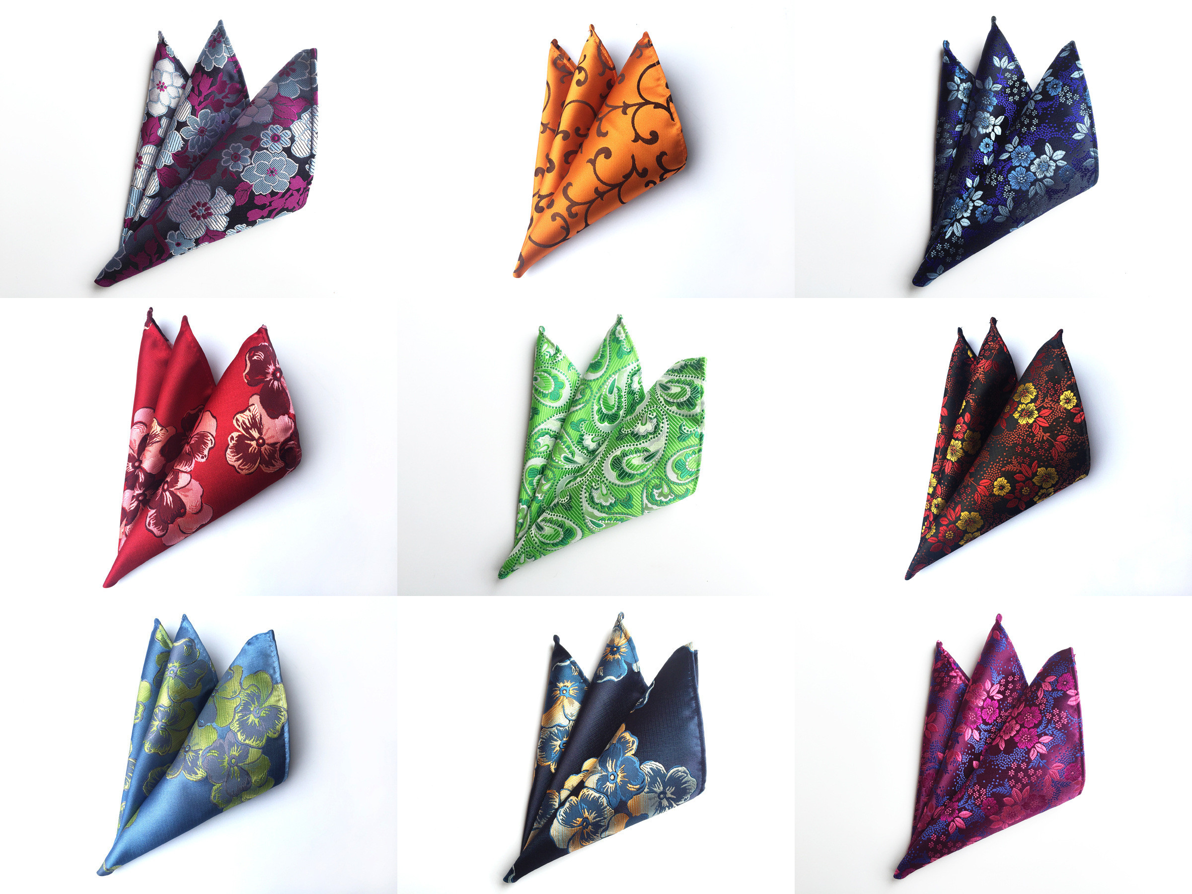 2018 New Paisley Floral Men Silk Satin Pocket Square Hanky Jacquard Woven Classic Wedding Party Handkerchief