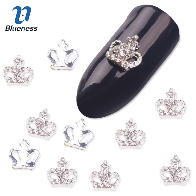 Blueness Glitter Silver Crown Design Decorations for DIY 3D Nails ...