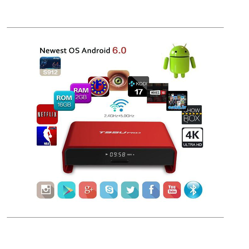 ФОТО 5pcs T95U PRO 3G 32G/3G 16G/2G 16G S912 Octa core Cortex-A53 Android 6.0 TV Box WiFi 2.4G/5.8G Kodi 17.0 Fully Load H.265 4K