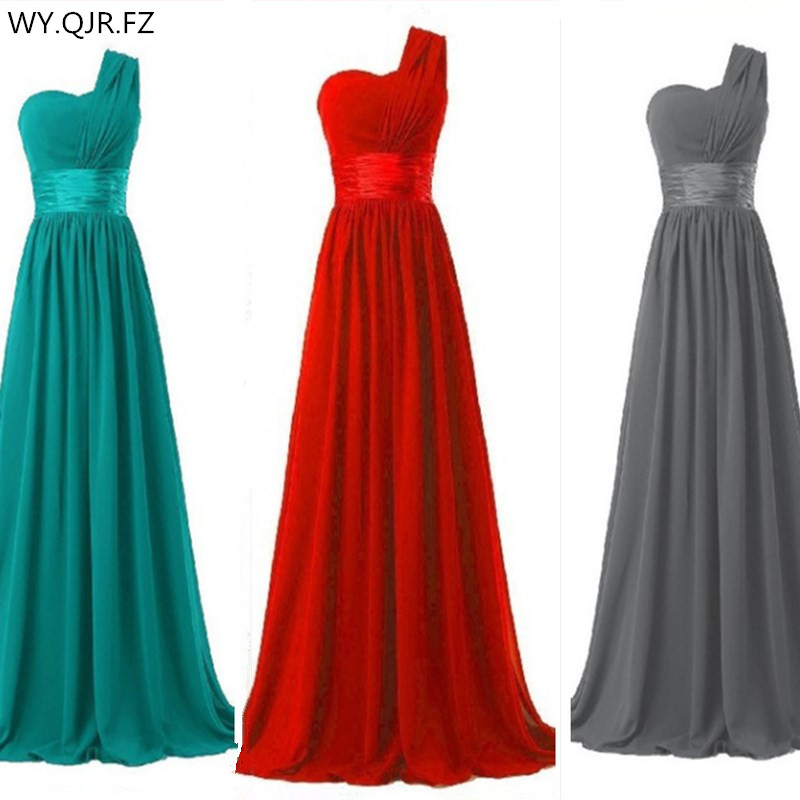 QNZL70#Green and red Chiffon one-shoulder long bride wedding party toast   dress   2019   Bridesmaid     Dresses   cheap wholesale Custom