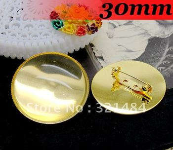 Free ship!30mm 200PCS Gold Plated Round Cameo Cabochon Setting Brooches brooch base blanks trays bezel