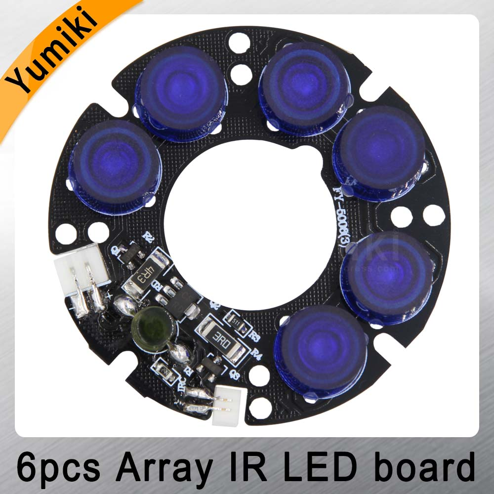 Yumiki New 6 Blue&white Array LED IR Leds Infrared Board For CCTV Cameras Night Vision (53mm Diameter)