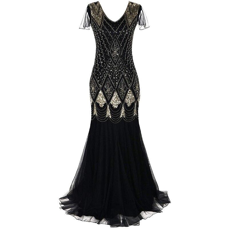 Femmes 1920 s magnifique Gatsby robe longue 20 s clapet robe Vintage col en V à manches courtes Maxi robe de soirée pour bal Cocktail