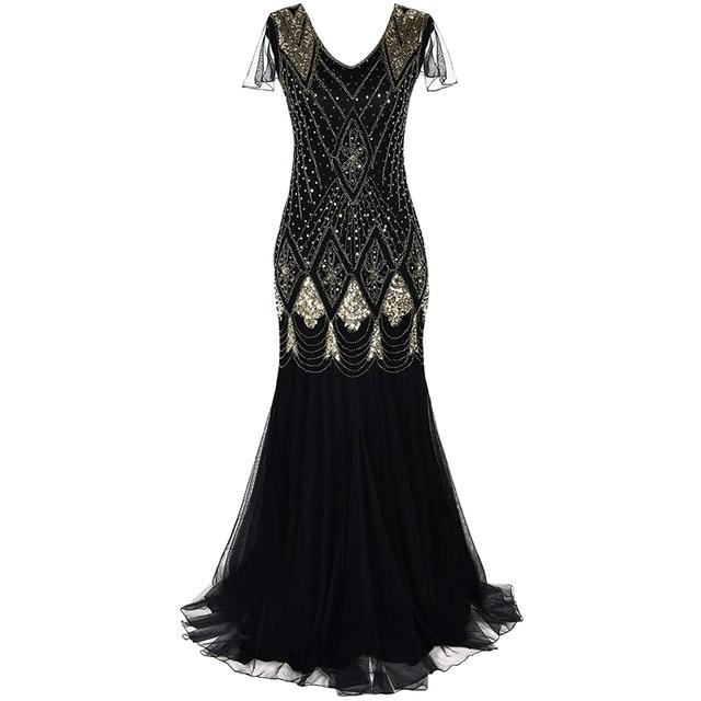 451fadc5a0 Luz Kobiety 1920 s wielki Gatsby sukienka długa 20 klapa Vintage V ...