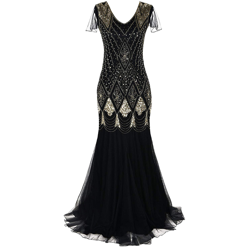 Women 1920s Great Gatsby Dress Long 20s Flapper Dress Vintage V Neck Short Sleeve Maxi Party Dress for Prom Cocktail