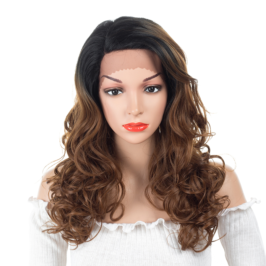 ELEGANT MUSES 16inch Side Part Ombre Brown Burgundy Honey Blonde Body Wave Heat Resistant Synthetic Lace Front Wigs For Women