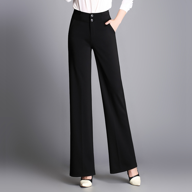 2019 Fashion Spring Summer Autumn Women Pants Trousers Female High Waist Wide Leg Pants OL Ladies
