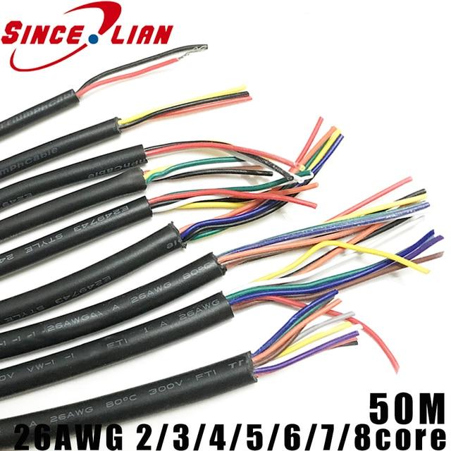 50 メートル 26AWG 2 コア 3 コア 4 コア 5 コア 6 コア 7 コア 8 コアコンピュータワイヤー UL2464 チャンネルオーディオライン信号ケーブル電気 LED ケーブル