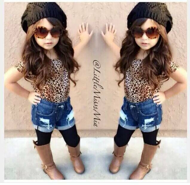 (LUCKY STORE) kids clothes leopard short sleeve t-shirt + demin shorts Europeans and American street fashion clothing set