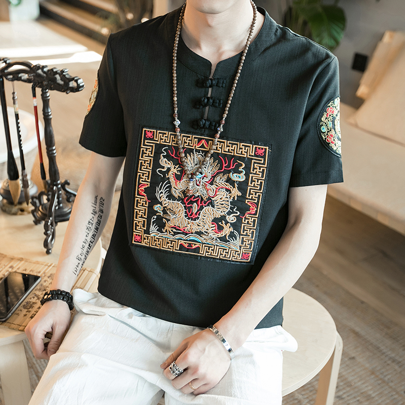 Chinese Style Summer Men T-Shirts Short Sleeve Dragon Embroidery Linen T Shirts Mens Casual Pan Kou Short Sleeve Tee Shirt 5XL-M