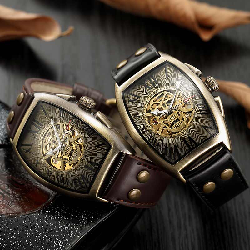 Men Automatic Mechanical Watches Men's Skull Skeleton Self Winding Wristwatch Male Retro Military Clock Leather Watches Reloj