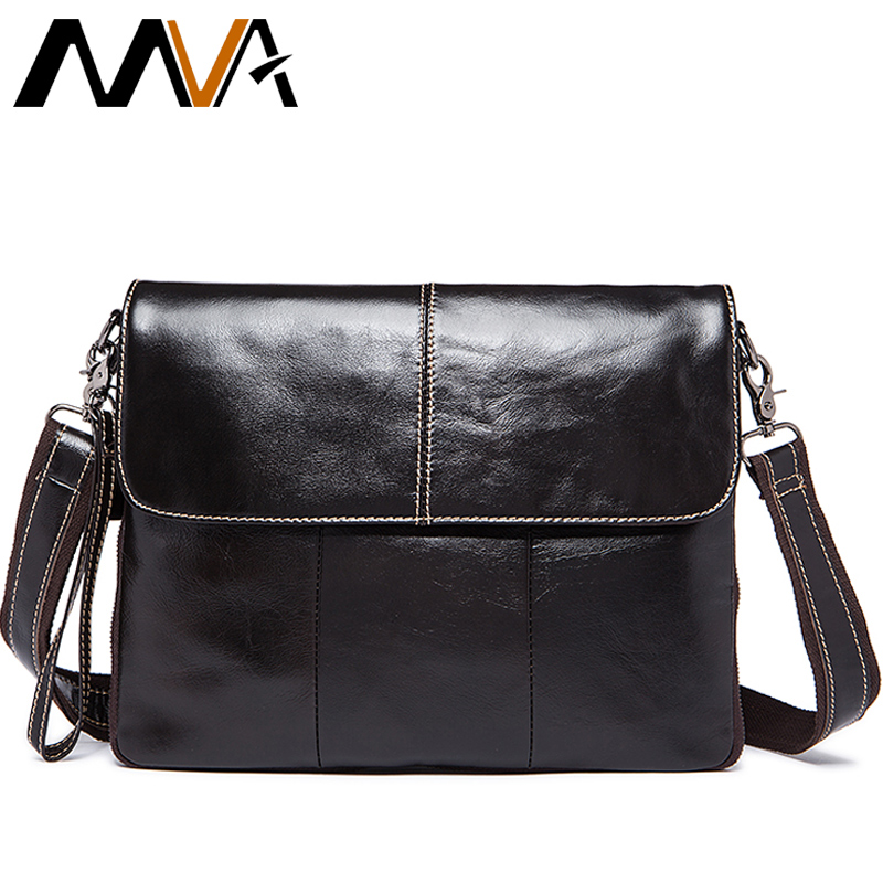 MVA Crossbody Bags for Men Messenger Bags Male Genuine Leather Bag Men Leather Clutches Flap Zipper Men's Shoulder Bags 8007