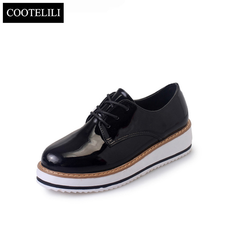 COOTELILI 35-39 Spring Casual Solid Flats Women Shoes Platform Lace-Up Round Toe Shallow Loafers Concise Leisure Ladies Oxfords new spring women casual platform shoes lace up round toe black pink white casual shoes women comfortble ladies shoes size 33 43
