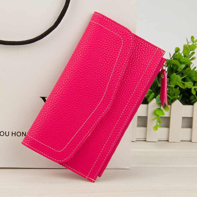 Envelope thread Women Long Wallet litchi grain PU Leather lady Purse thin slim student Coin Pocket Card Holder cltuch wallet bag enopella thread casual pu leather women