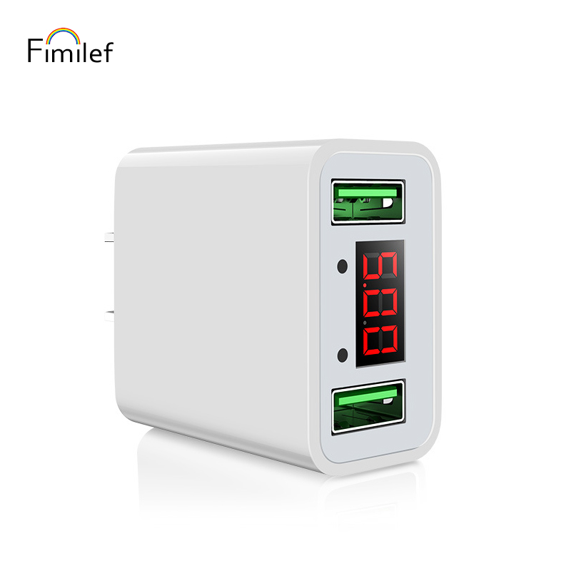 Fimilef CE Certification LED Current&Voltage Display Portable Phone Charger Dual USB Charging Head Fast Charging Travel Adapter