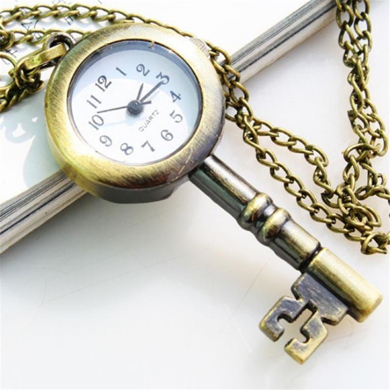 Pocket Fob Watches Lovely Vintage Key Design Quartz Women men watch necklace Pocket Watch clock