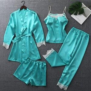 Image 2 - ZOOLIM ฤดูใบไม้ร่วงชุดนอนผ้าไหมชุดผู้หญิง 4 ชิ้น Pijamas เข็มขัดซาตินชุดนอนลูกไม้ชุดนอนเซ็กซี่ Sleep Lounge