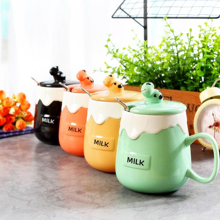 Nuevo color caramelo de la manera Taza de cerámica con cuchara de acero  inoxidable taza de agua potable taza de café con leche cuchara 7babdf8675e