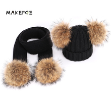 2-piece set Winter Baby Girls Boy Real Raccoon Knitted Hat S