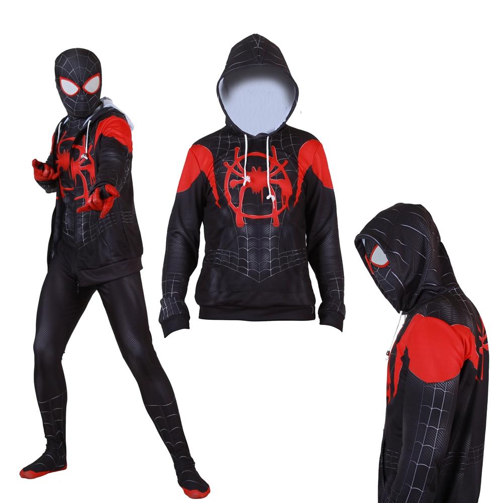 Adult Kids Spider-Man Into the Spider-Verse Miles Morales Superhero Cosplay Sweatshirt Hoodie Jacket Coat