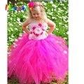 Pink&Hot Pink Flower Girl Tutu Dress Tube Top Kids Girl Pageant Flower Dresses For Little Girls Dancing Birthday Wedding Photo