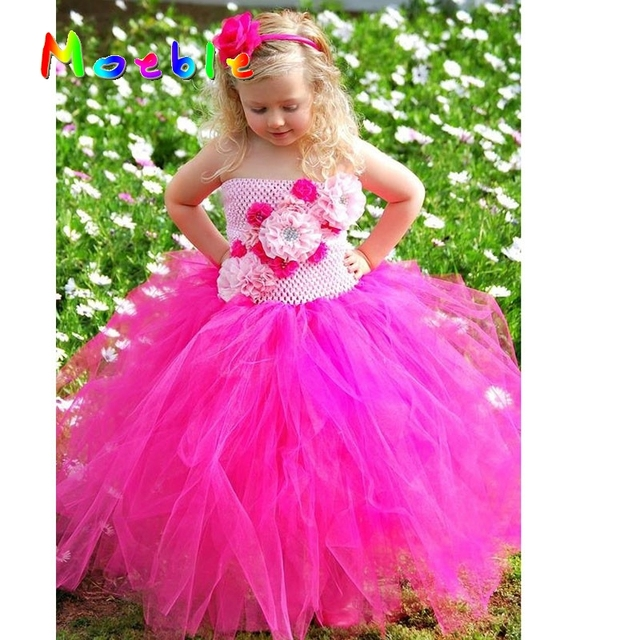Pink Hot Flower Tutu Dress Top Kids Pageant Dresses For Little S