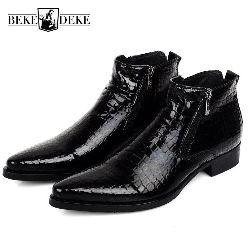 Grande taille 45 bleu foncé/Noir Hommes bottines De Mariage Parti chaussures hautes qualité supérieure En Cuir Bout Pointu Zip Homme chaussures habillées
