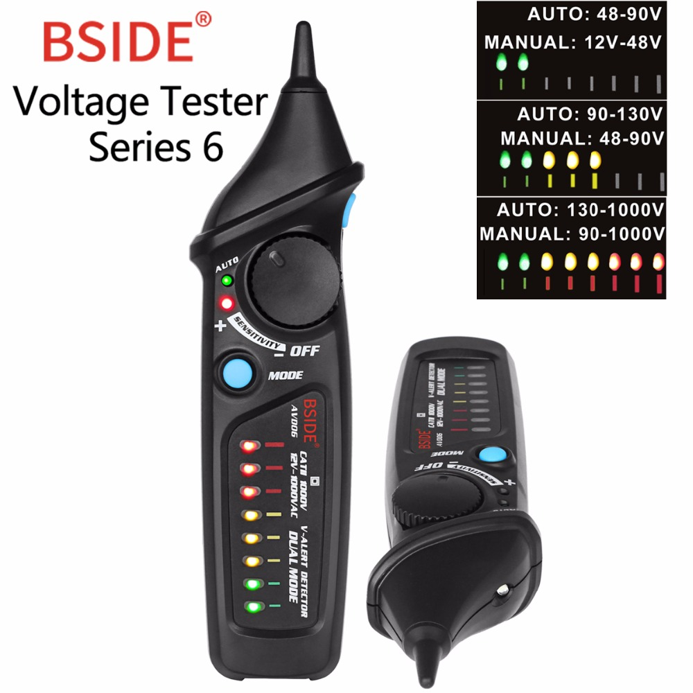 Detector de tensión sin contacto BSIDE AVD06 de prueba de voltaje CA pluma del probador de indicador 12 ~ 1000 V sensibilidad ajustable encuentro multímetro