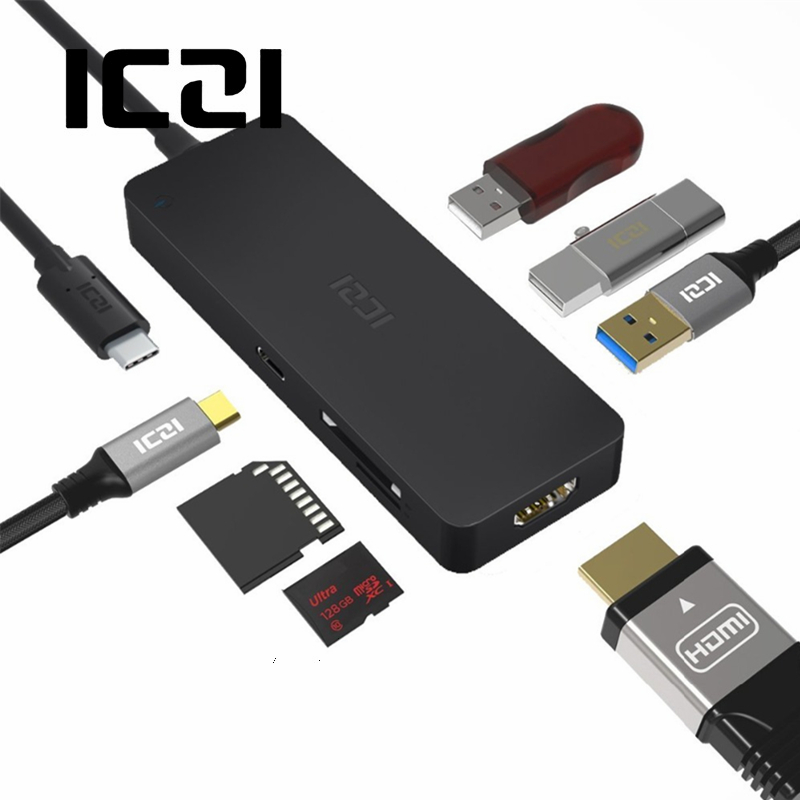 ICZI 7 in 1 USB C Hub Type C to 4K HDMI Port 3 USB Port SD Micro SD Card Reader PD Adapter for Laptop 2017 Macbook Pro XPS 13 7 in 1 usb 3 1 type c hub to 4k hdmi adapter usb 3 0 sd tf card reader pd charging port for macbook pro