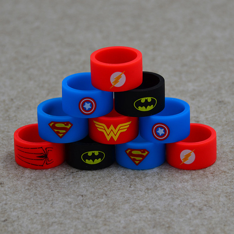 Superman rubber band&flash Silicone vape ring band for mechanical box mod vape rubber smok&kanger tech box mod