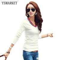 New Designs Women Bottoming Shirt Stretchy T-shirt Korean Style Multi Color Stripe Splicing Primer Shirt Blusas Feminina H6003