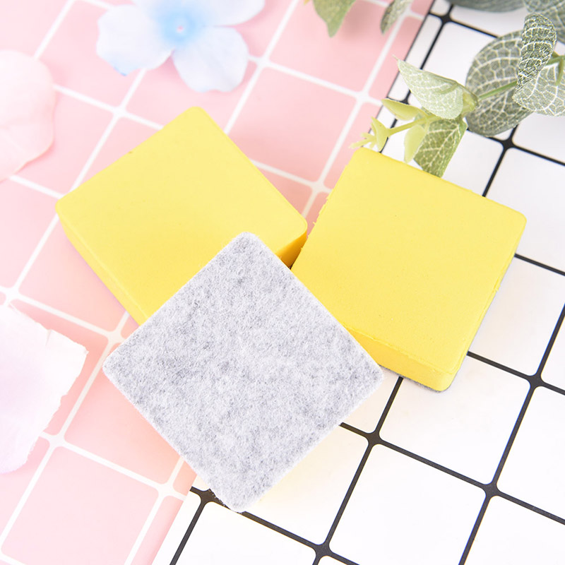 2 Pcs Yellow Blackboard Whiteboard Cleaner Dry Marker Pen Foam Eraser Chalk Brushs