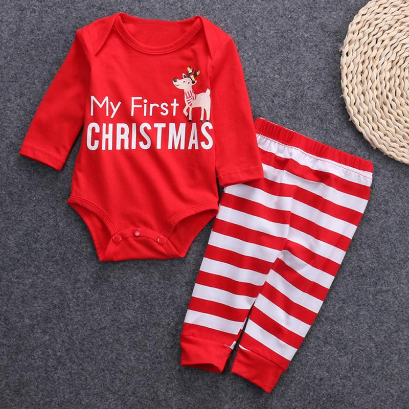 2PC Autumn Spring Christmas Infants Deer and Letters Pattern Romper Stripe Pants Red Hot Sales Baby Boys Girls Kids Outfit