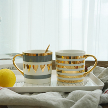 White Bronzing Plating Gold Ceramic  Cup Couple Gift