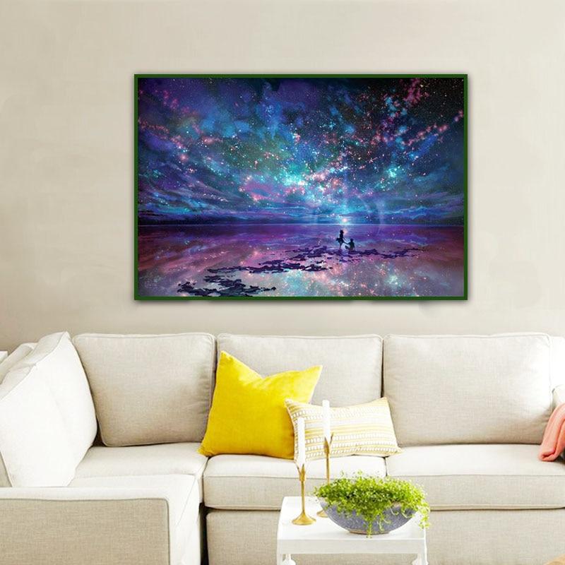 5D Diy Blue Sky Diamond Embroidery Painting Landscape Galaxy Diamond Mosaic Painting Cross Stitch Full Round Diamond Home Decor