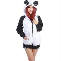Cartoon Panda Sweatshirts Long Sleeve With Zipper Hat Cosplay Panda Costume Men Women Hoodies Anime Cosplay