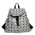 Mujeres mochila 2016 geométrica patchwork diamante celosía bolso de lazo mochila de Gran capacidad mochila famosa marca