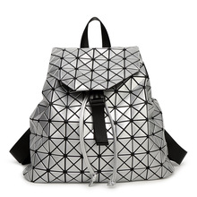 Women backpack 2016 geometric patchwork diamond lattice backpack famous brand drawstring bag Large capacity knapsack
