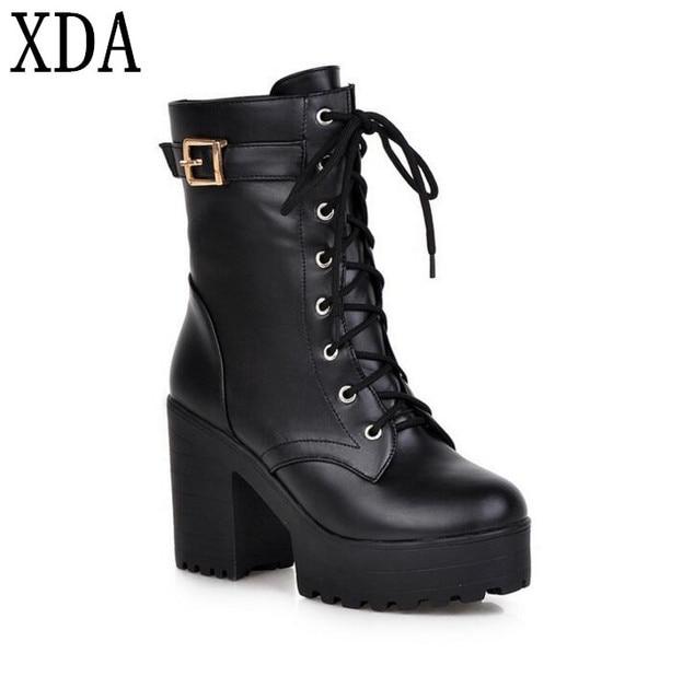 XDA Plus size 35-43 2017 tacchi Alti stivali sexy della piattaforma lace-up.  Posiziona il mouse sopra per ingrandire 1694ff29111