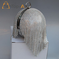 Recommend Style Women S Round Ball Tassel Diamond Evening Bags Round Imitation Pearl Evening Bag Rhinestones