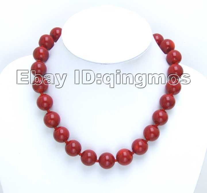 SALE Huge 16-18MM high quality perfect Round GENUINE NATURAL Red Coral Necklace-nec5499