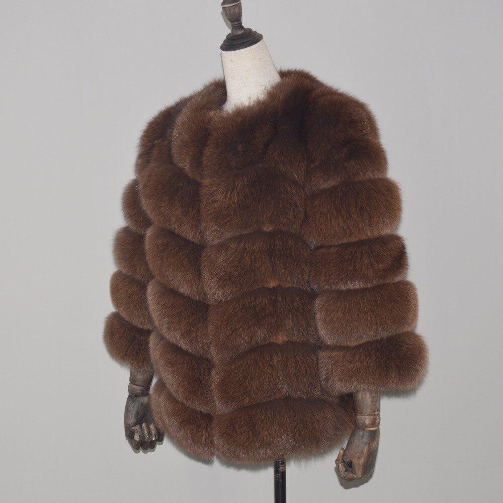 100 dark Brown Style Chaud Survêtement Mode Femmes dark Veste Khaki Grey Réel Manteau Fourrure 2018 De brown Court Nouvelle Manteaux Hiver Naturel Doux Lady Renard RxSSvwfq