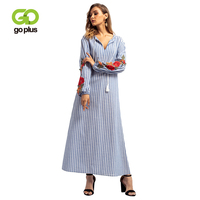 GOPLUS Muslim Abaya Floral Embroidery Striped Long Dress Women V Neck Long Sleeve Maxi Dress Lace up Middle East Vestidos Female