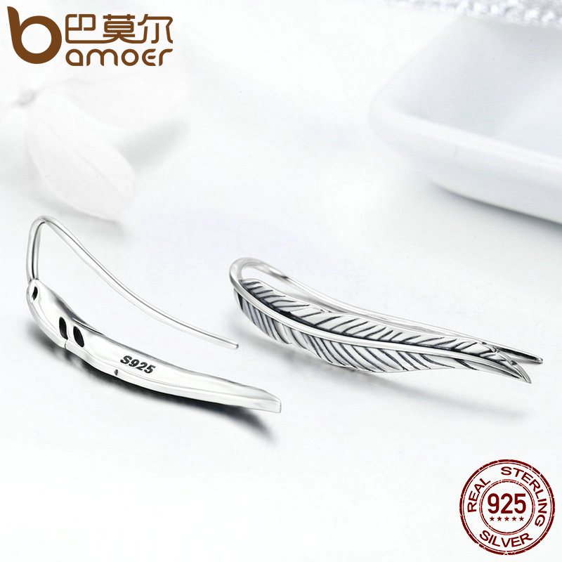 BAMOER Otentik 100% 925 Sterling Silver Feathers Wing Stud Earrings - Perhiasan fashion - Foto 2