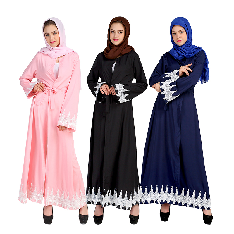 Middle East Clothes Turkey Speaker Sleeve Abaya Muslim Women Cardigan Lace Dress Turkish Robe Islamic Abayas Dresses Clothing