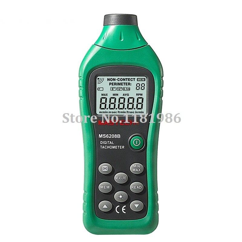 MASTECH MS6208B LCD numérique Laser Photo tachymètre RPM mètre sans contact Tacometro vitesse de Rotation 50 tr/min-99999 tr/min stockage de données