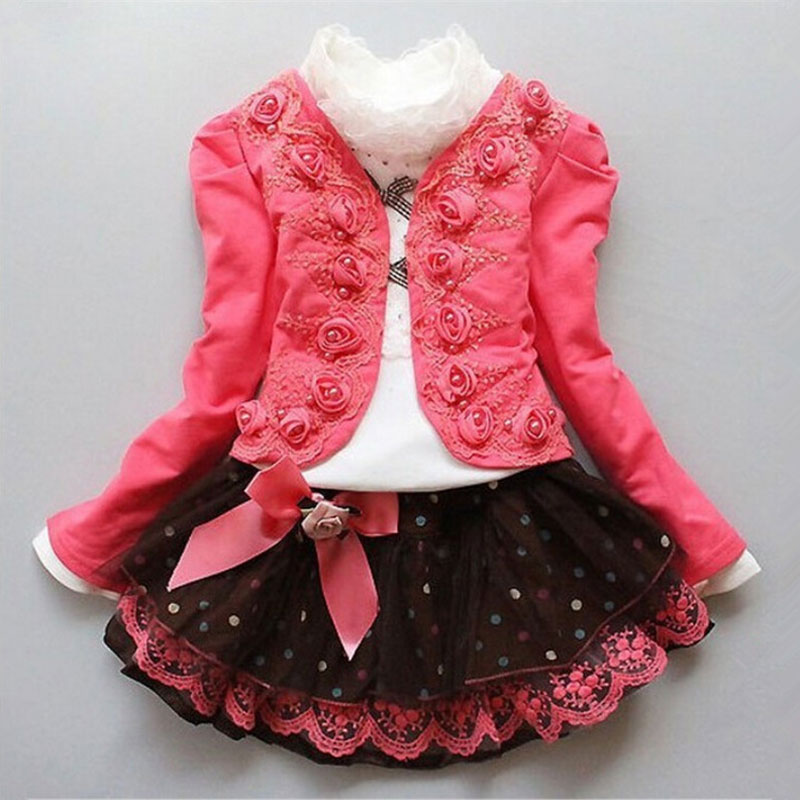 spring autumn baby girls flower clothes sets 3 pieces suit girls flower coat with T shirt and lace tutu skirt girls clothes sets 2016 fashion spring autumn girls suits brand designer flower children set sweatshirts coats jeans t girls 3 sets